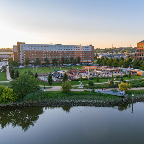 aerial view of walkways along riverfront at Apartment in Wilmington DE