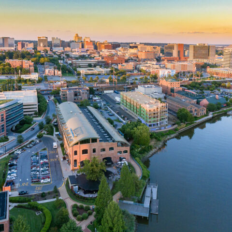 aerial view os riverfront and Apartment in Wilmington DE