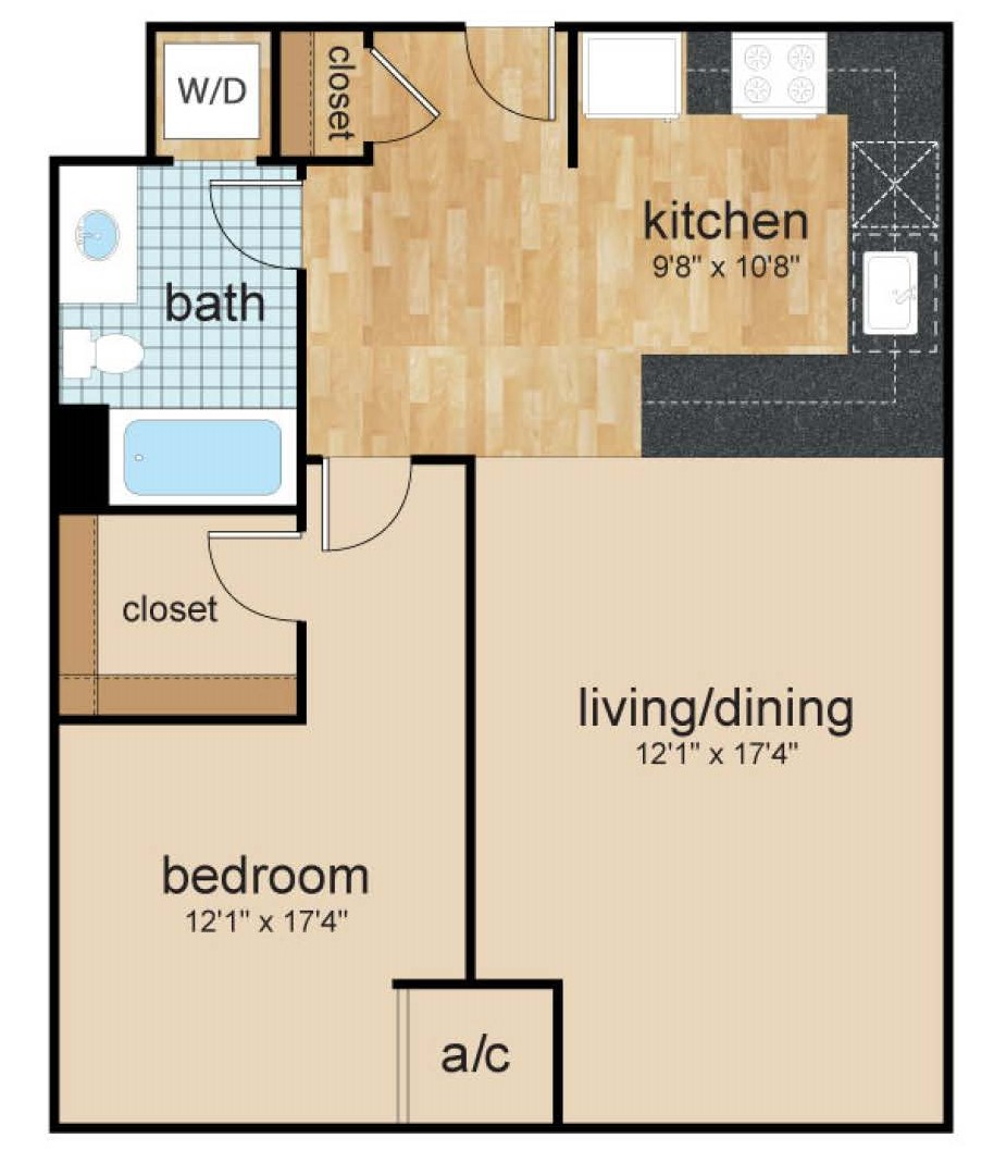 One bedroom apartment floor plan at wilmington, de riverfront apartment