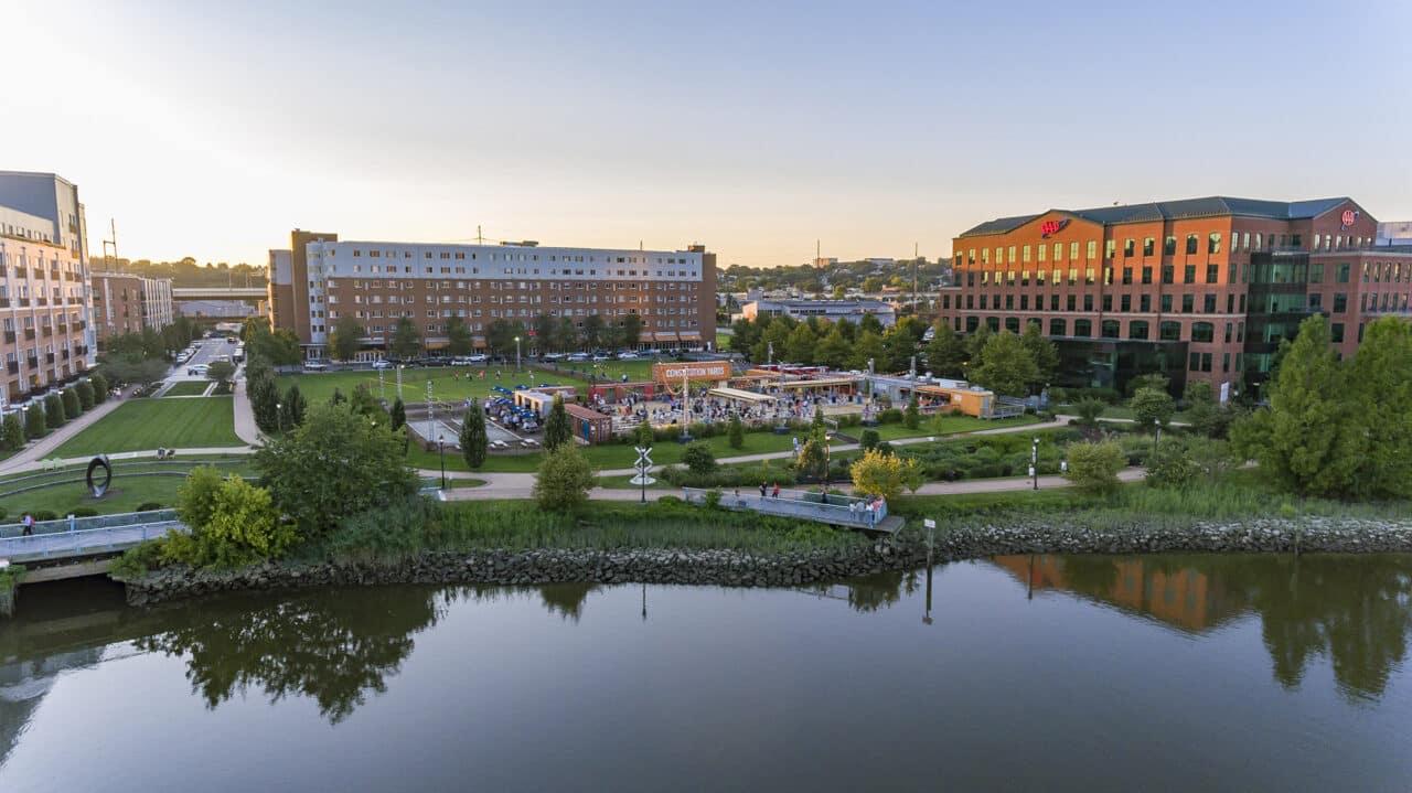 Christina River waterfront beer garden and buildings in Wilmington, DE